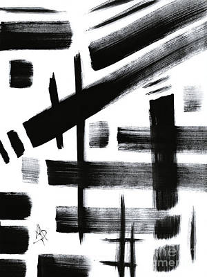 Contemporary And Colorful Abstracts Painting - Abstract Black And White Original Unique Painting Black-white Iv By Madart by Megan Duncanson