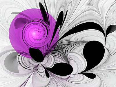 Digital Art - Abstract Black And White With Orchid by Gabiw Art