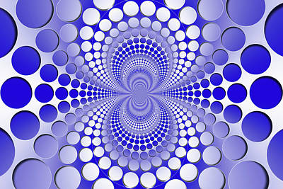 Graphic Digital Art - Abstract Blue And White Pattern by Vladimir Sergeev