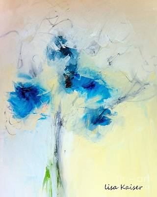 Digital Art - Abstract Blue Bouquet Floral Painting by Lisa Kaiser