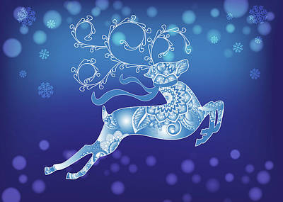 Digital Art - Abstract Blue Christmas Reindeer by Serena King