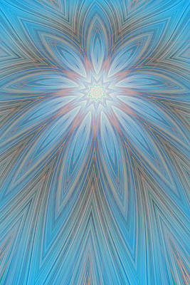 Abstract Blue Flower Art Print by Linda Phelps