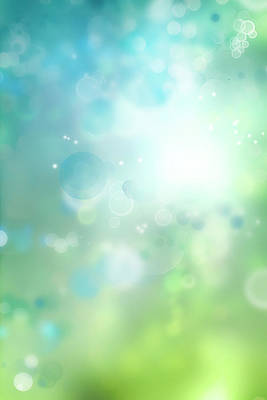 Digital Art - Abstract Blue Green Bokeh by Les Cunliffe