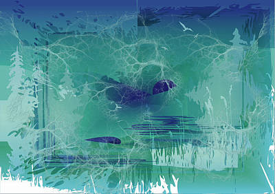 Digital Art - Abstract Blue Green by Robert G Kernodle