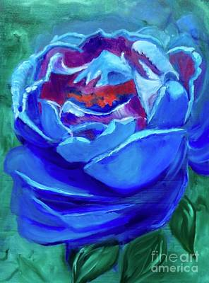 Painting - Abstract Blue Rose by Jenny Lee