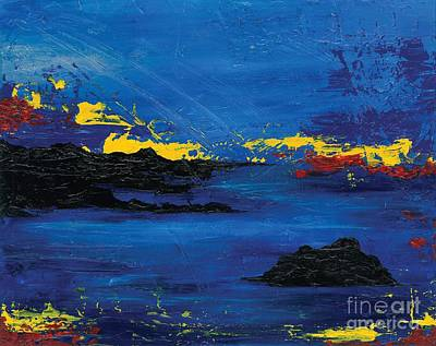 Painting - Abstract Blue Sea by Laura Charlesworth