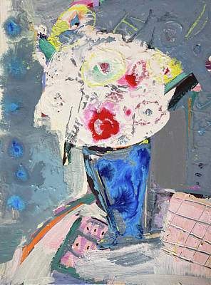Painting - Abstract Blue Vase Of White Bouquet Of Flowers by Amara Dacer