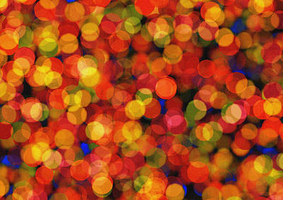 Abstract Bokeh - Orange Lights Art Print by Celestial Images