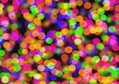 Abstract Bokeh - Pink Green Orange And Blue Lights Art Print by Celestial Images