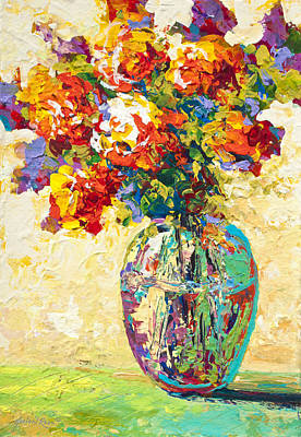 Glass Vase Painting - Abstract Boquet Iv by Marion Rose