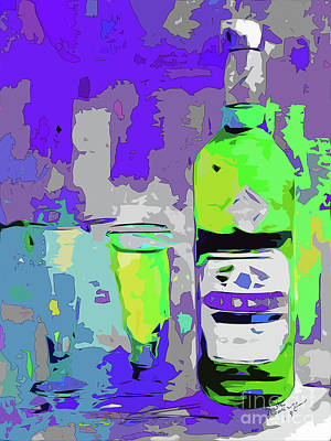Mixed Media - Abstract Bottle Absinthe Modern Art by Ginette Callaway