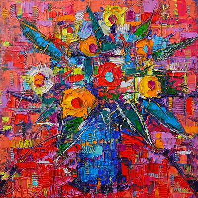 Painting - Abstract Bouquet Of Happiness Modern Impressionist Palette Knife Oil Painting By Ana Maria Edulescu  by Ana Maria Edulescu