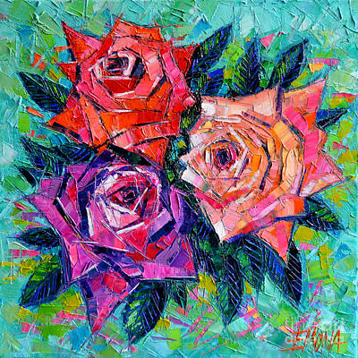 Flower Wall Art - Painting - Abstract Bouquet Of Roses by Mona Edulesco