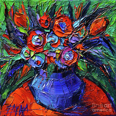 Abstract Bouquet On Vermilion Table - Impasto Palette Knife Oil Painting - Mona Edulesco Art Print by Mona Edulesco