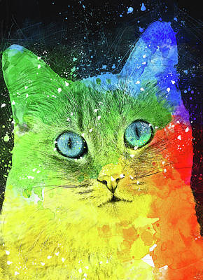 Watercolor Pet Portraits Digital Art - Abstract Bright Cat by Oksana Ariskina