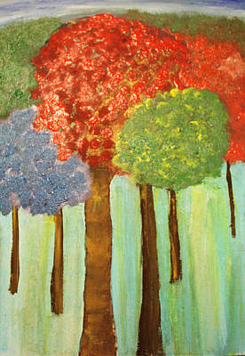 Painting - Abstract Bright Trees by Paula Brown