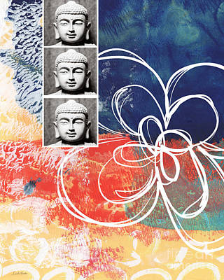 Blue Abstracts Mixed Media - Abstract Buddha by Linda Woods