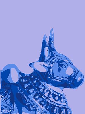 Teracotta Digital Art - Abstract Bull Contours Blue by Keshava Shukla