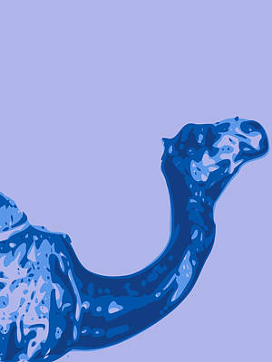 Digital Digital Art - Abstract Camel Contours Blue by Keshava Shukla