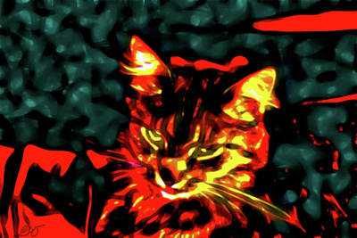 Abstract Cat Art Print