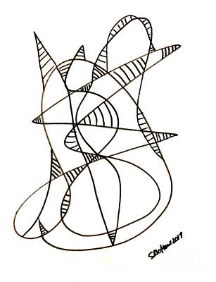Drawing - Abstract Cat by Stacy C Bottoms