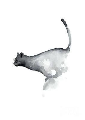Abstract Cat Watercolor Painting, Grumpy Cat Lover Gift  Art Print by Joanna Szmerdt