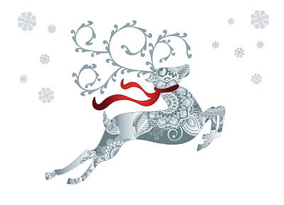 Digital Art - Abstract Christmas Reindeer Greeting Card by Serena King