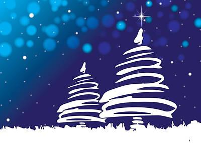 Digital Art - Abstract Christmas Trees Blue Christmas by Serena King
