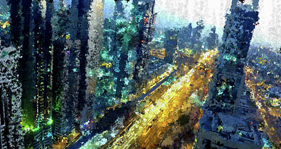 Nightlife Mixed Media - Abstract City At Night by Terry Davis