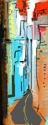 Digital Art - Abstract City Downtown by Jessica Wright