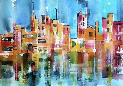 Painting - Abstract City Scape Reflections by Debbie Lewis