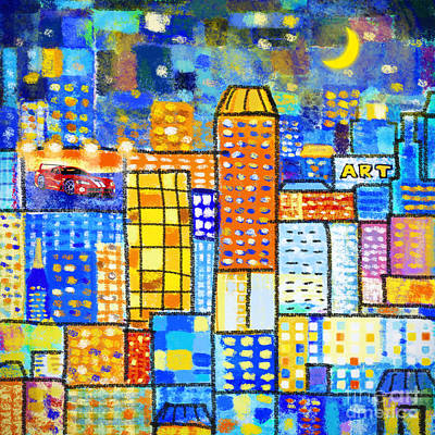 Postcard Painting - Abstract City by Setsiri Silapasuwanchai