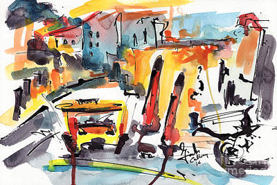 Abstract City Streets 1 Modern Art Art Print by Ginette Callaway