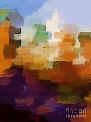 Abstract Digital Art Painting - Abstract Cityscape by Lutz Baar