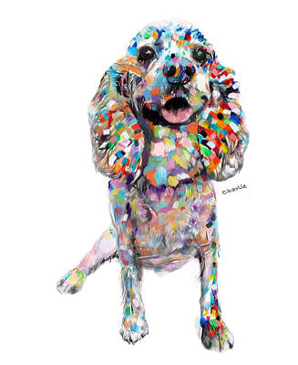 Painting - Abstract Cocker Spaniel by Enzie Shahmiri
