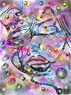Digital Art - Abstract Color Human Face by Darren Cannell