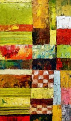 Abstract Color Study With Checkerboard And Stripes Print by Michelle Calkins