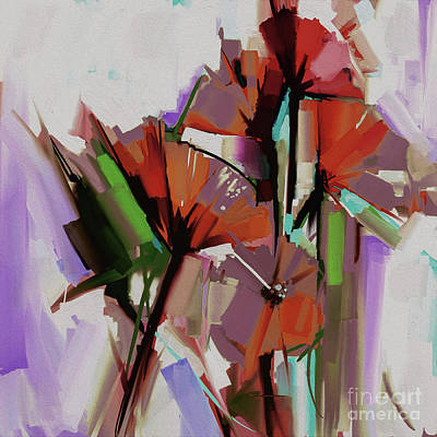 Abstract Colored Flowers 5501 Original by Gull G