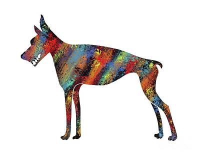 Doberman Pinscher Puppy Digital Art - Abstract Colorful Doberman Pinscher Dog by Apostrophe Art