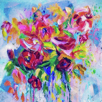 Digital Art - Abstract Colorful Flowers by Lena  Owens OLena Art
