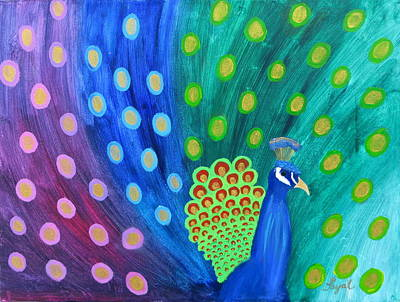 Abstract Colorful Peacock Art Print