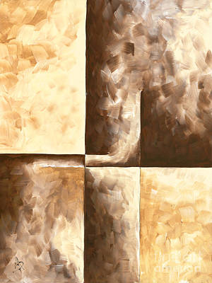 Abstract Contemporary Art Original Minimalist Painting In Brown And Yellow Burnished IIi By Madart Original