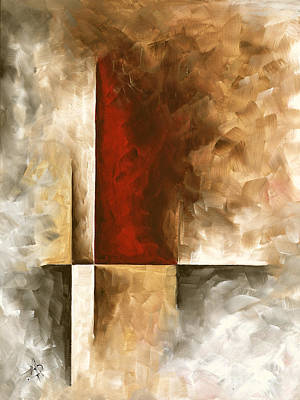 Abstract Contemporary Art Original Painting In Neutral Shades With Red Burnished I By Madart Art Print by Megan Duncanson