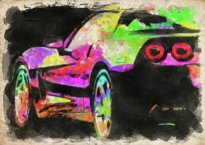 Photograph - Abstract Corvette Watercolor by Ricky Barnard