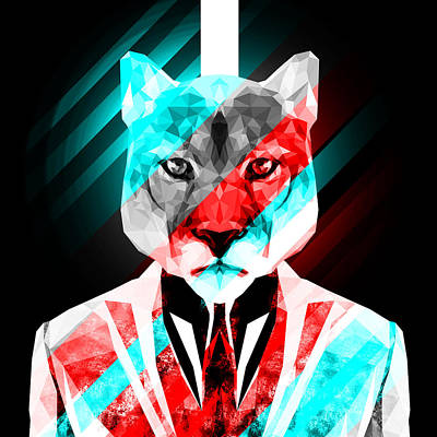 Tuxedo Cat Digital Art - Abstract Cougar 4 by Gallini Design