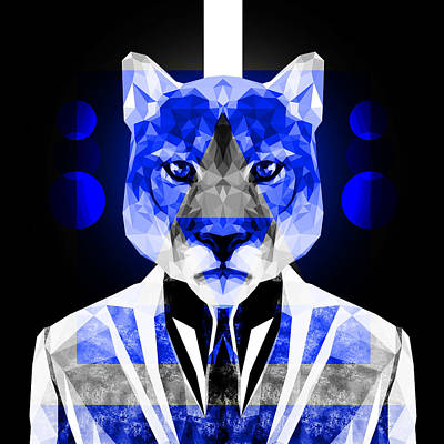 Tuxedo Cat Digital Art - Abstract Cougar by Gallini Design