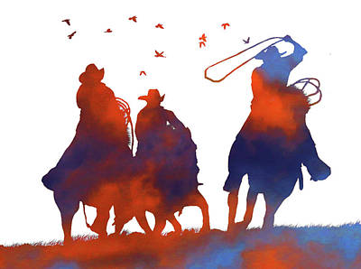Team Roping Photograph - Abstract Cowboys by Stephanie Laird