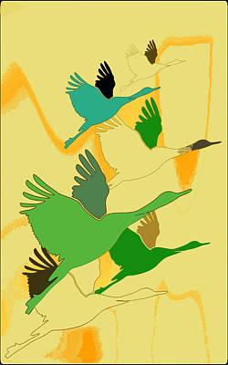 Digital Art - Abstract Cranes by Rumiana Nikolova