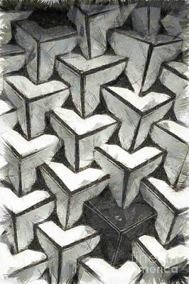Mixed Media - Abstract Cubes Variations by CC Fielding