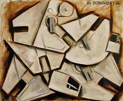 Painting - Abstract Cubism Cubist Millennium Falcons Painting by Tommervik